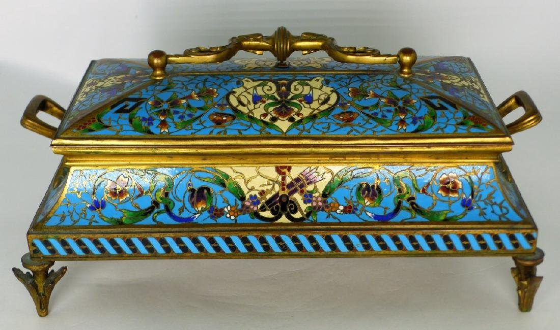 19th C FRENCH BRONZE & CHAMPLEVE DRESSER BOX - 3