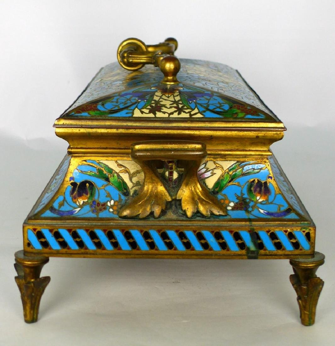 19th C FRENCH BRONZE & CHAMPLEVE DRESSER BOX - 4