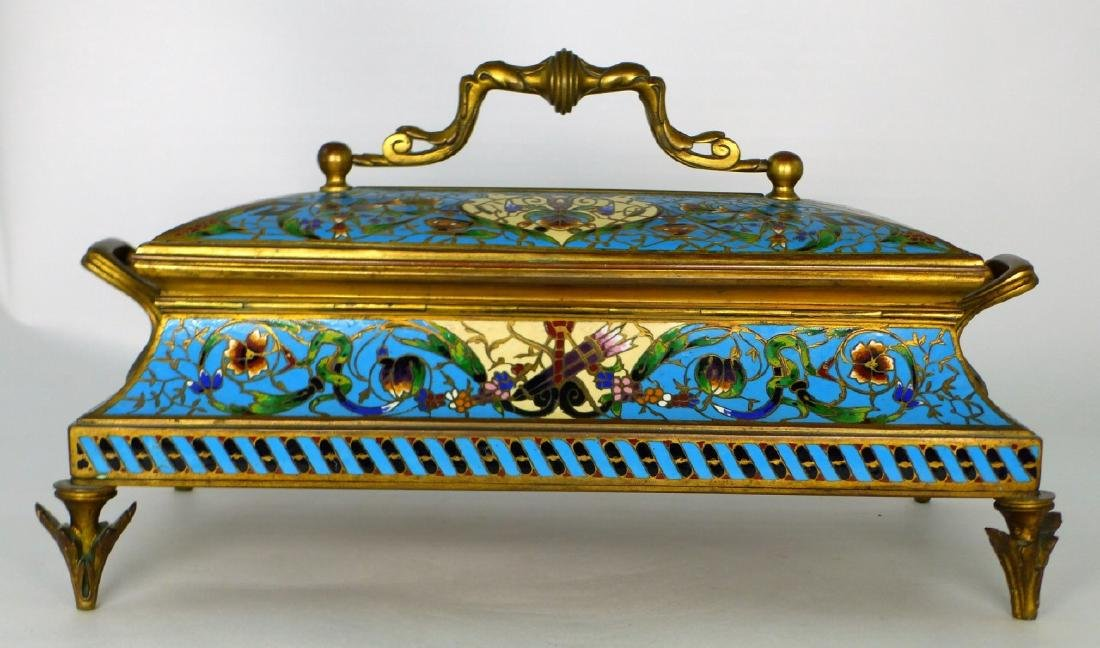 19th C FRENCH BRONZE & CHAMPLEVE DRESSER BOX - 5