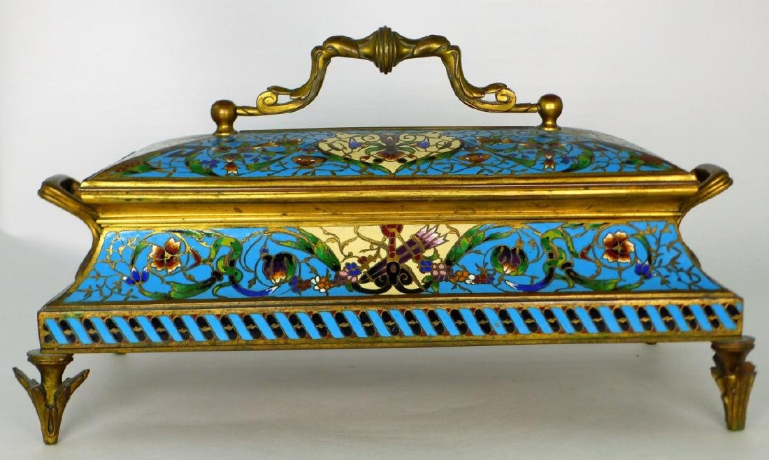 19th C FRENCH BRONZE & CHAMPLEVE DRESSER BOX - 7