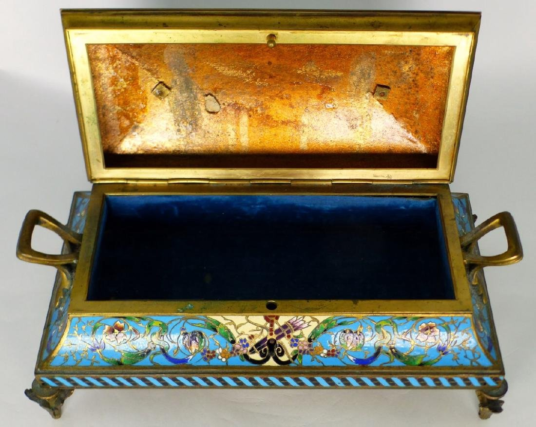 19th C FRENCH BRONZE & CHAMPLEVE DRESSER BOX - 8