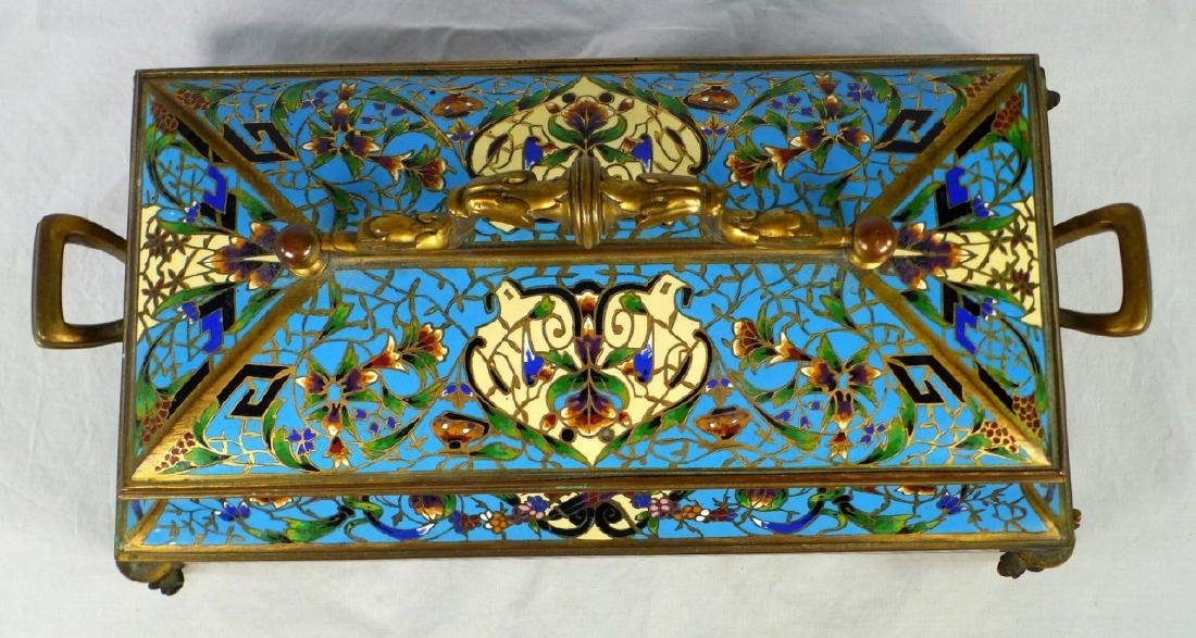 19th C FRENCH BRONZE & CHAMPLEVE DRESSER BOX - 9