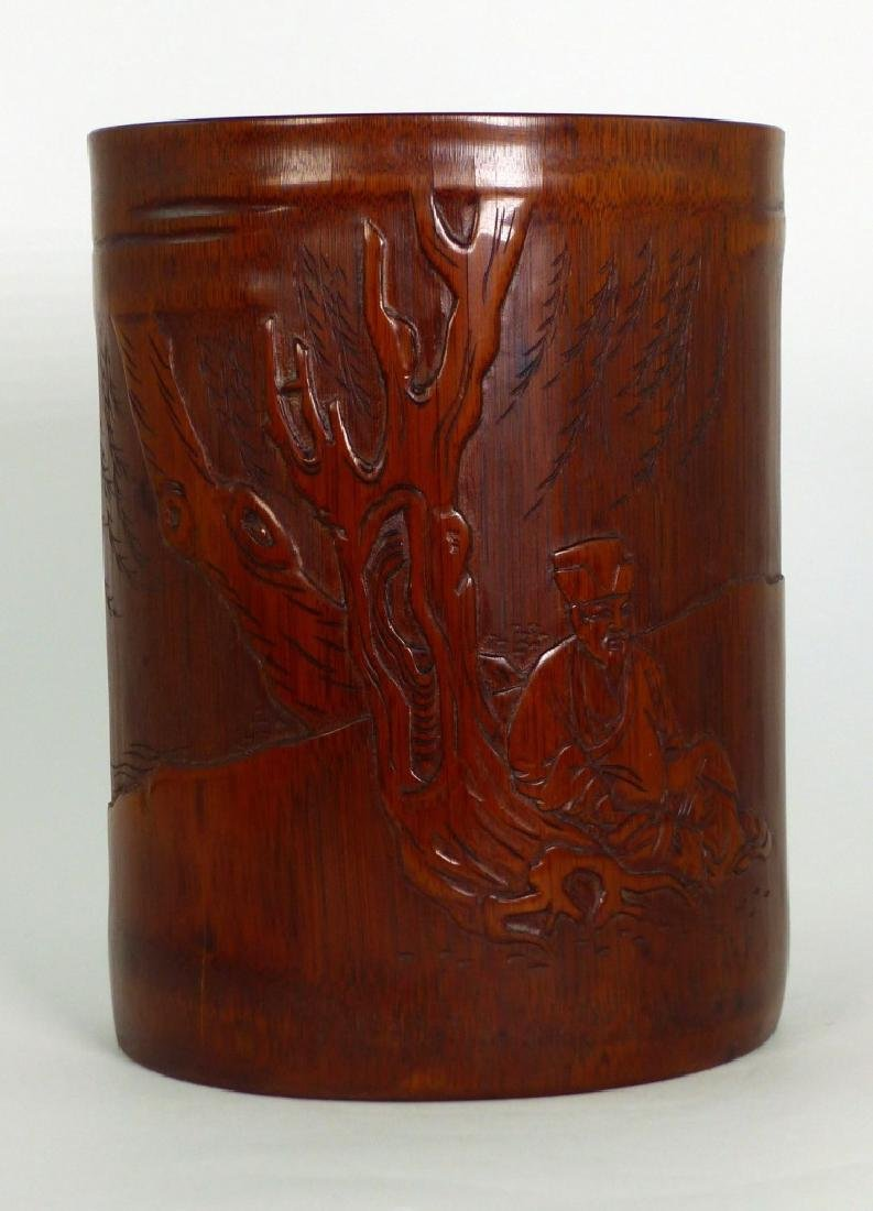 CHINESE CARVED BAMBOO BRUSH POT w ELDER