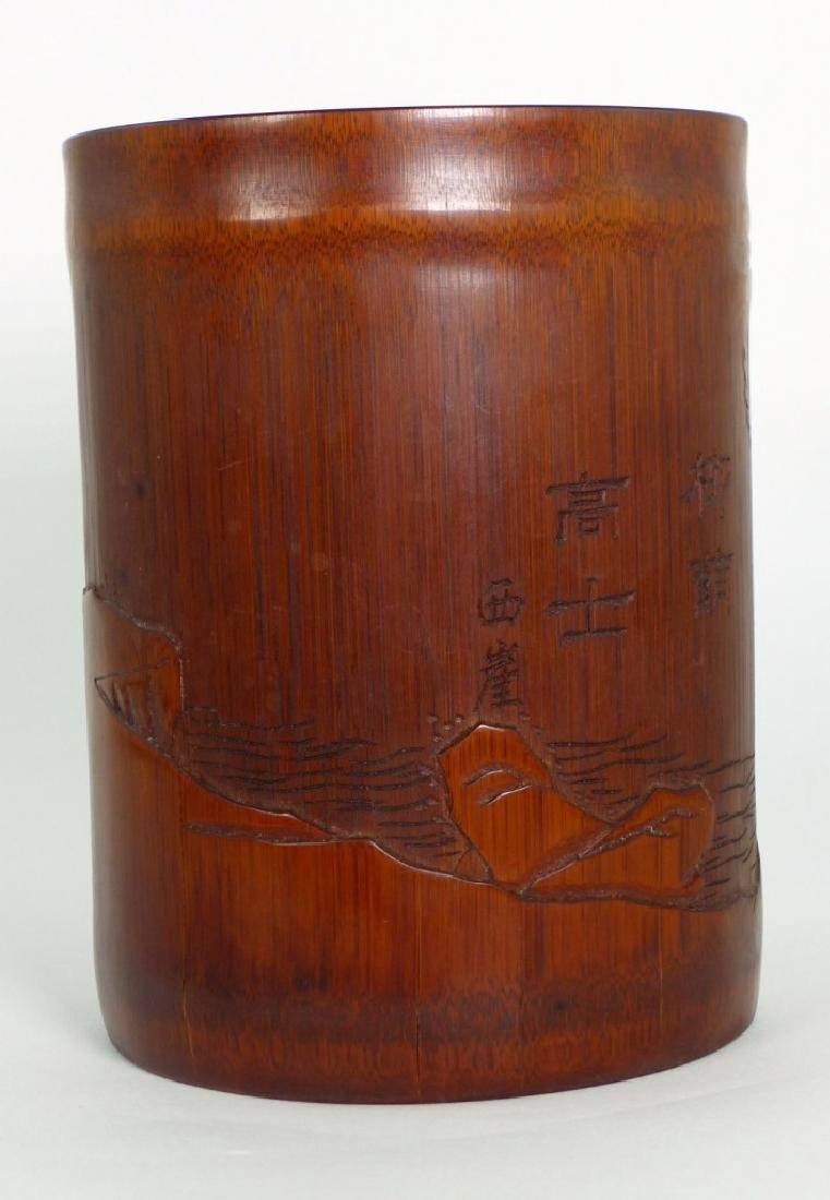 CHINESE CARVED BAMBOO BRUSH POT w ELDER - 3