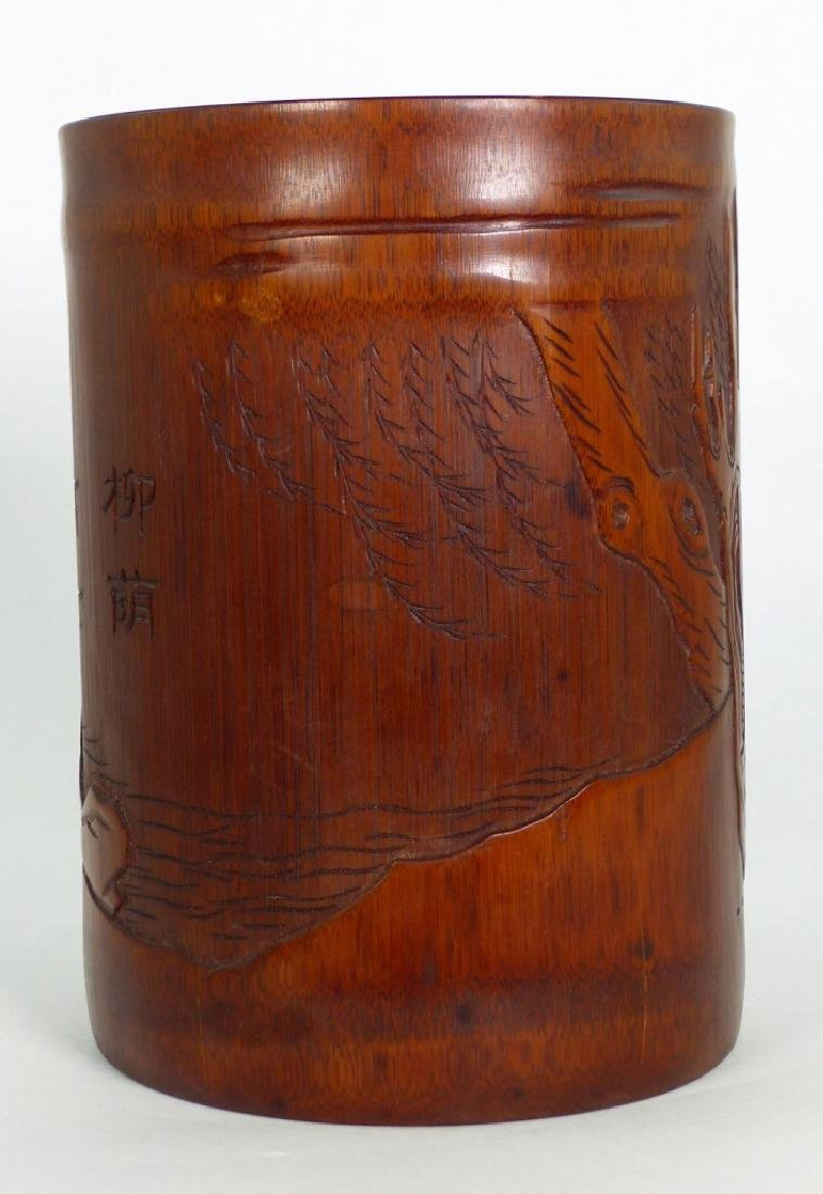 CHINESE CARVED BAMBOO BRUSH POT w ELDER - 4