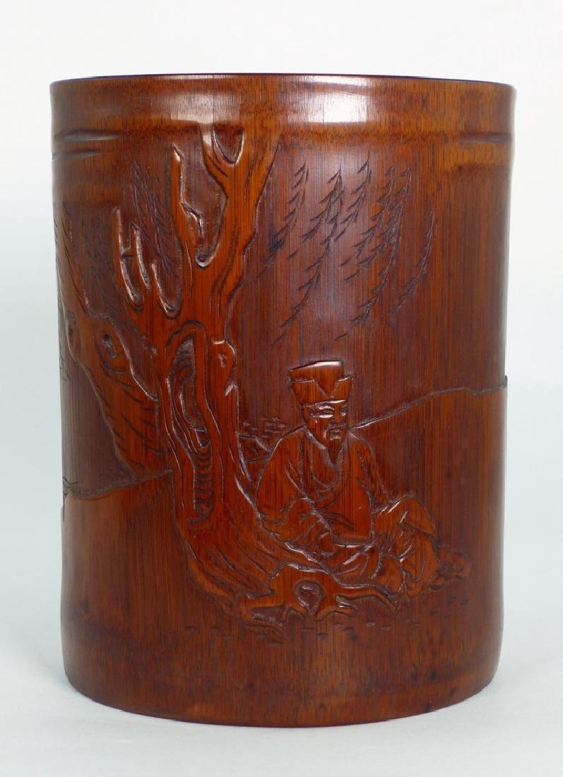 CHINESE CARVED BAMBOO BRUSH POT w ELDER - 5