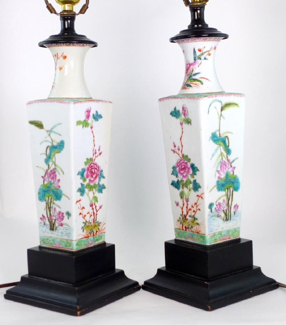 PR CHINESE FAMILLE ROSE PORCELAIN VASES / LAMPS