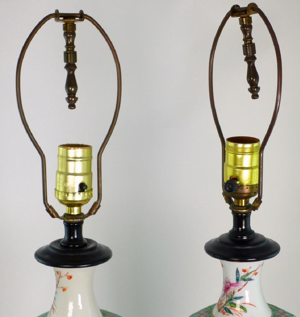 PR CHINESE FAMILLE ROSE PORCELAIN VASES / LAMPS - 2