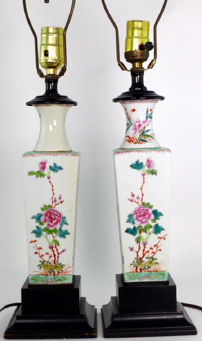 PR CHINESE FAMILLE ROSE PORCELAIN VASES / LAMPS - 5
