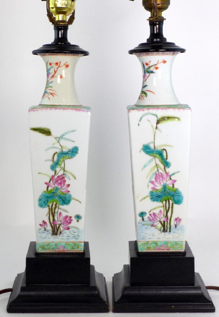 PR CHINESE FAMILLE ROSE PORCELAIN VASES / LAMPS - 6