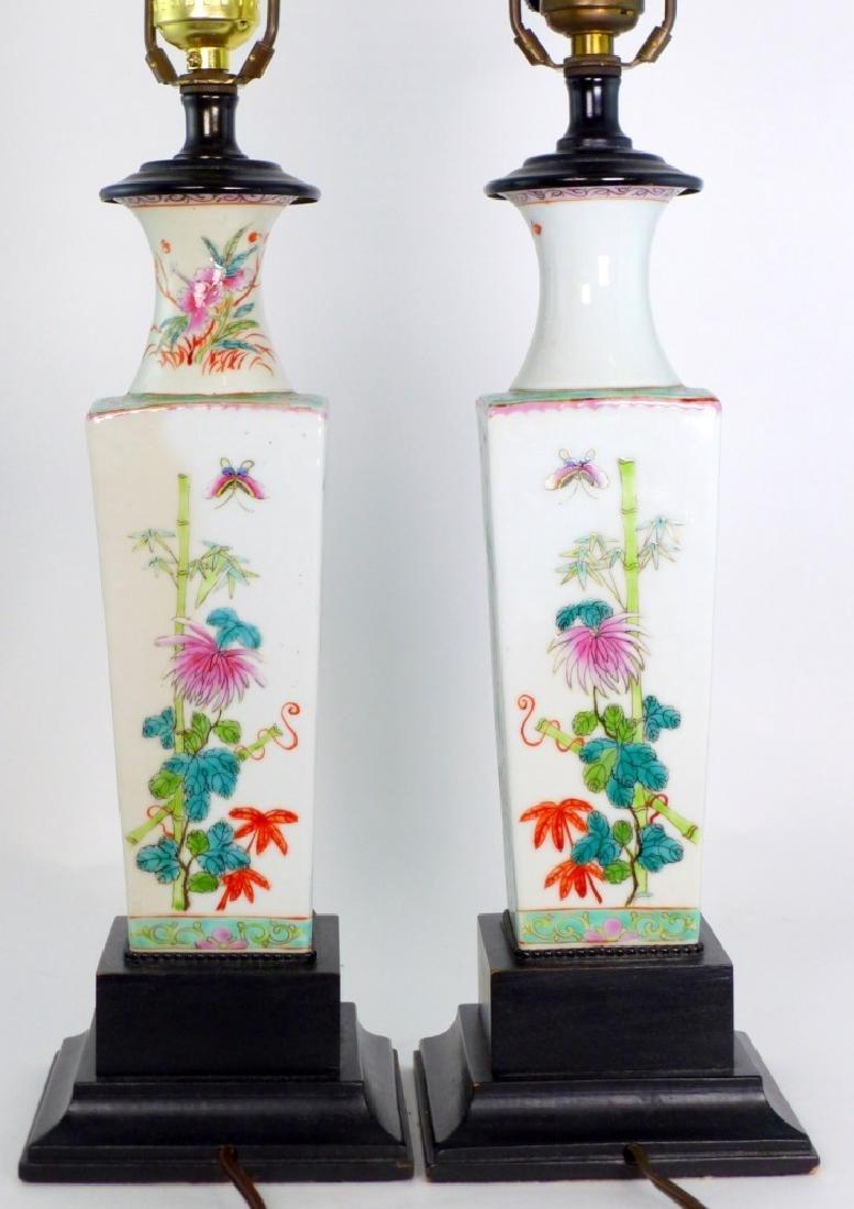 PR CHINESE FAMILLE ROSE PORCELAIN VASES / LAMPS - 7