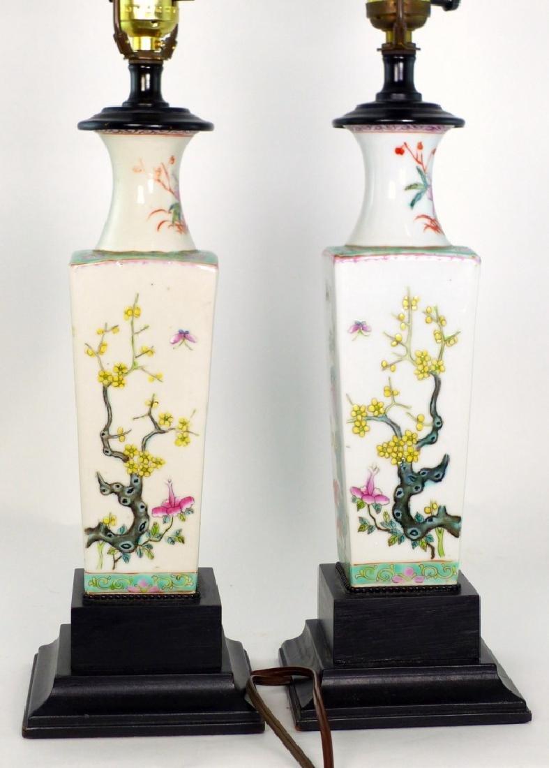 PR CHINESE FAMILLE ROSE PORCELAIN VASES / LAMPS - 8