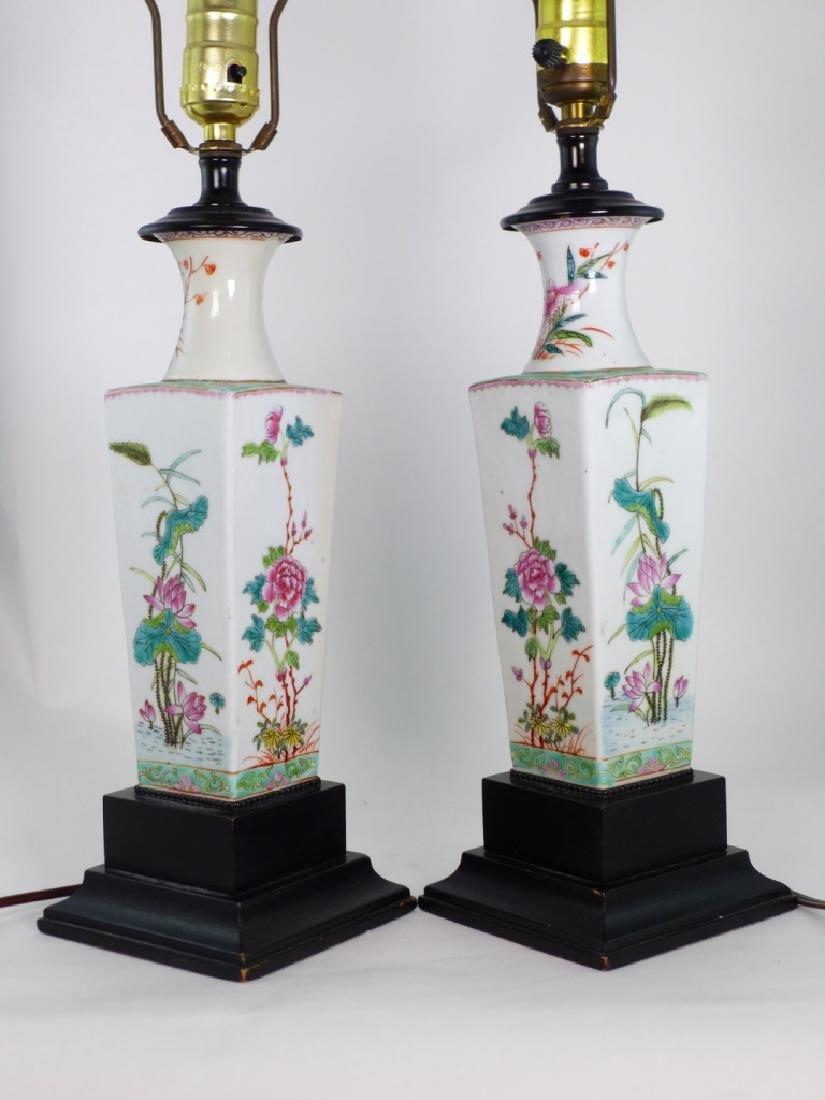 PR CHINESE FAMILLE ROSE PORCELAIN VASES / LAMPS - 9