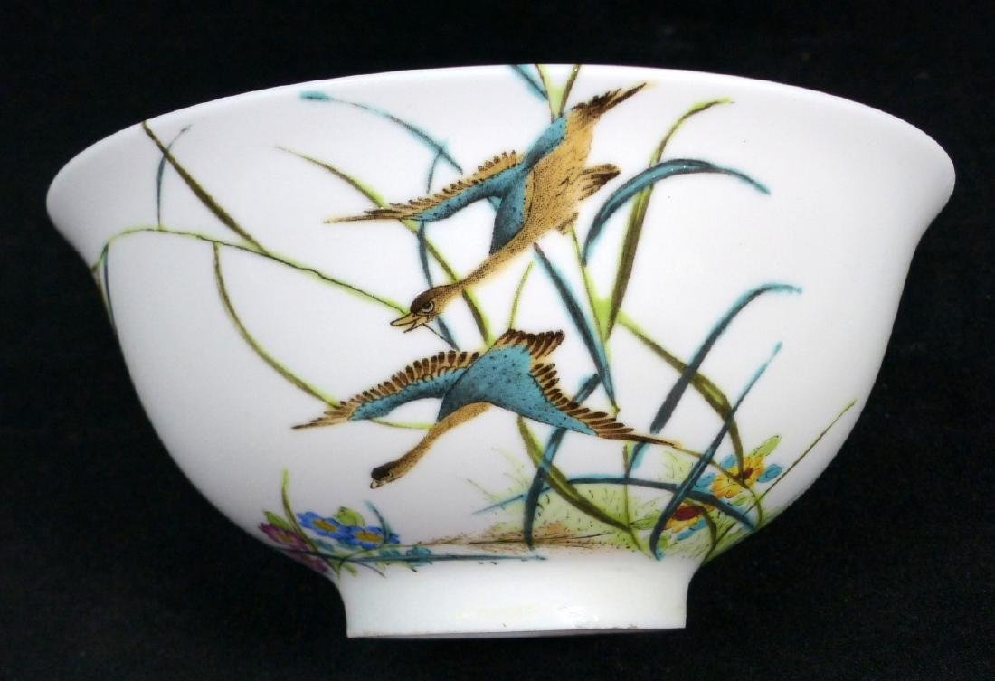 4pc CHINESE PORCELAIN RICE BOWLS w BIRDS & FLOWERS - 5