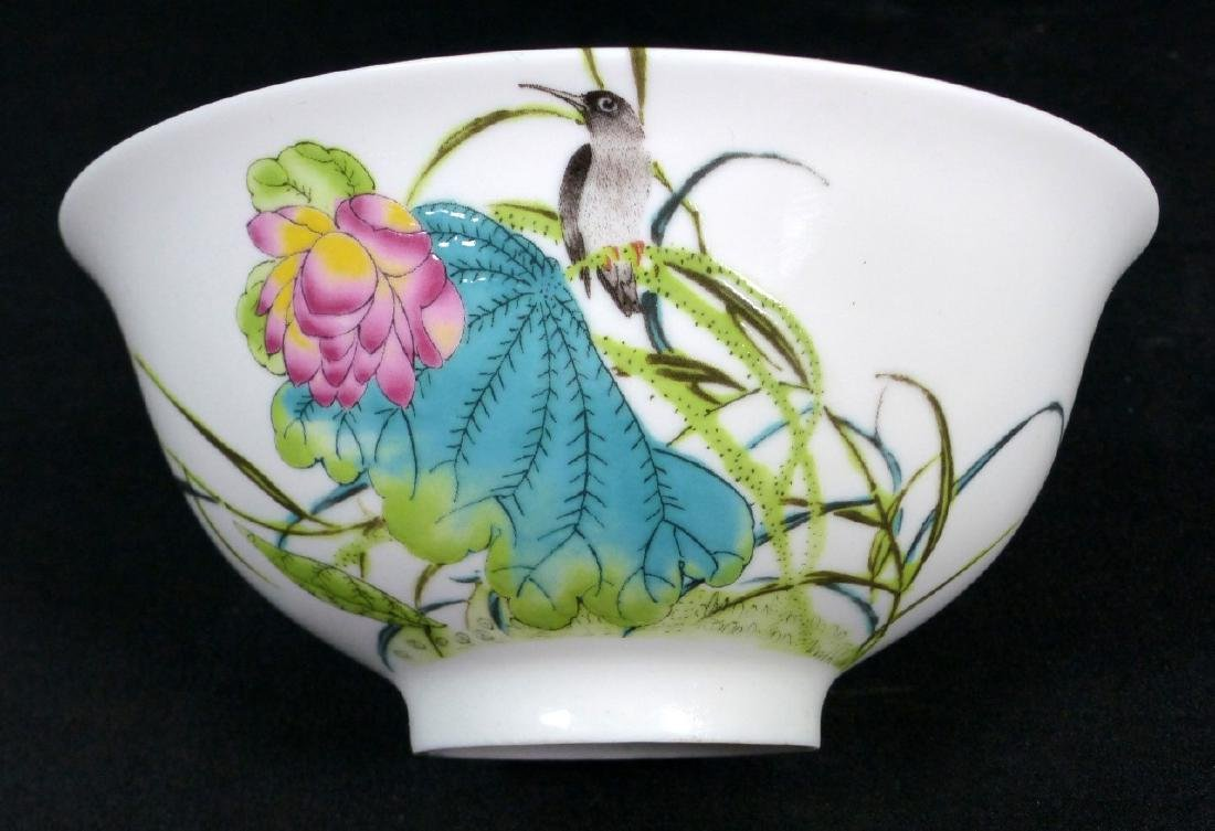 4pc CHINESE PORCELAIN RICE BOWLS w BIRDS & FLOWERS - 6