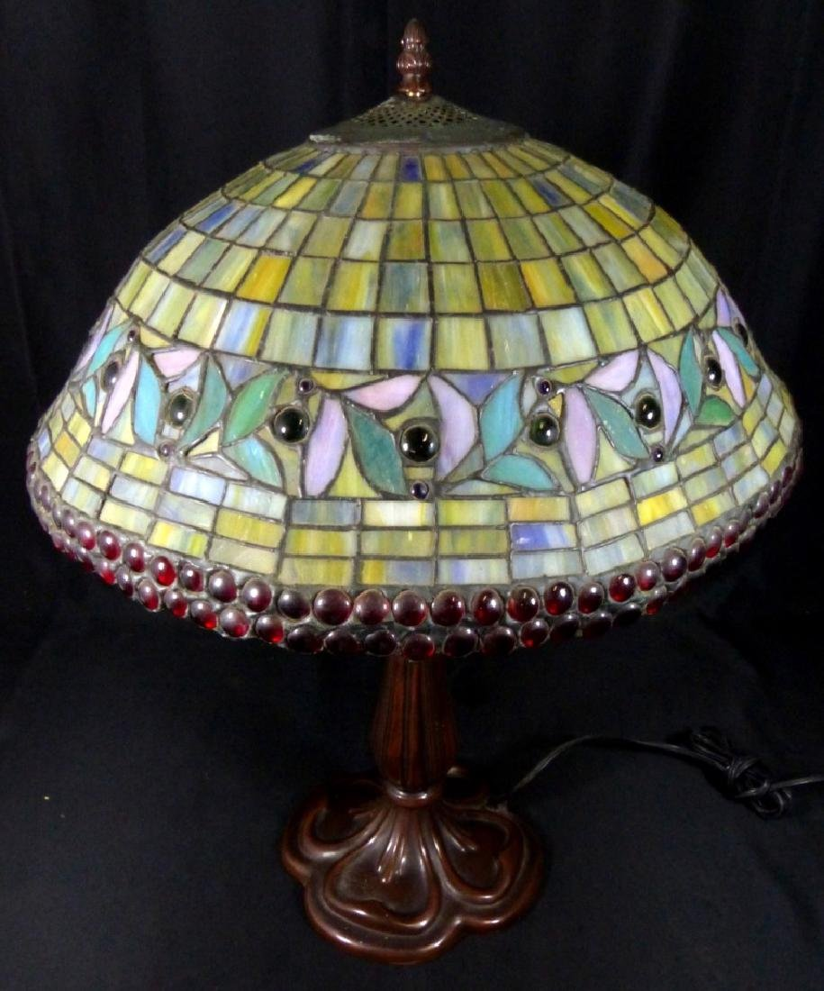 AMERICAN JEWELED STAINED LEADED GLASS TABLE LAMP - 10