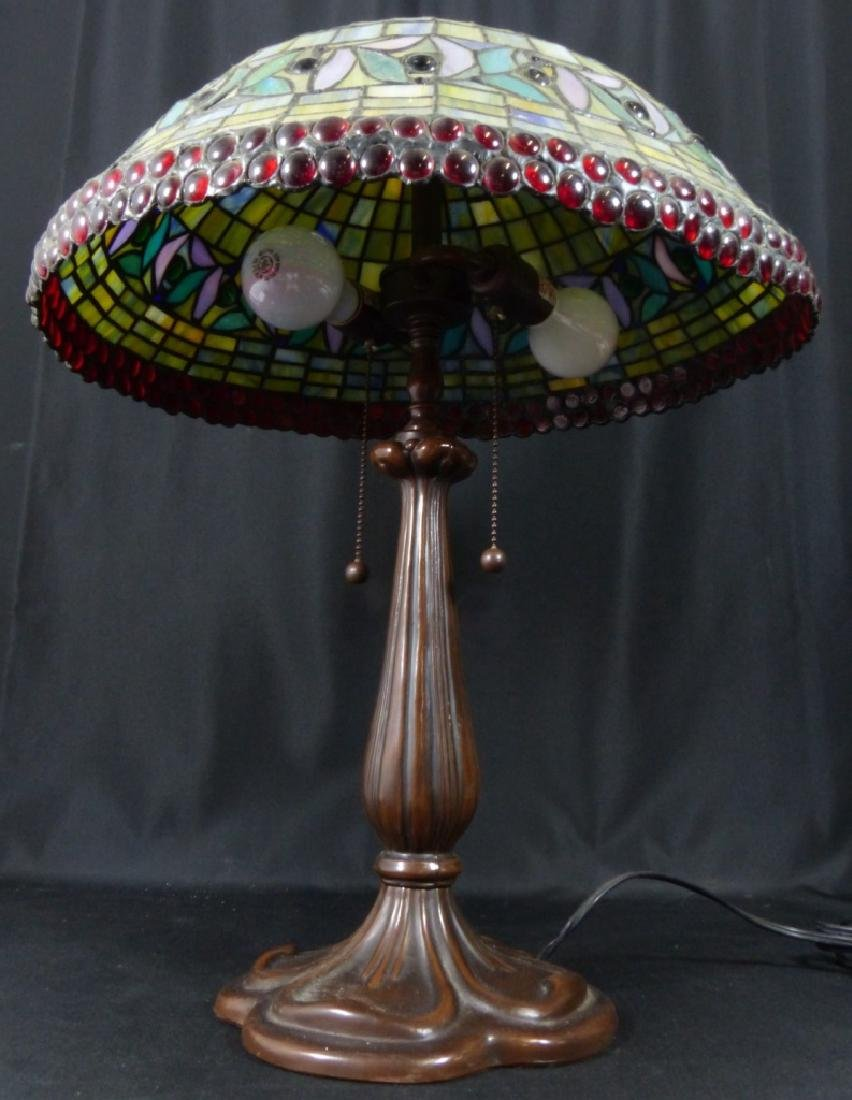 AMERICAN JEWELED STAINED LEADED GLASS TABLE LAMP - 6