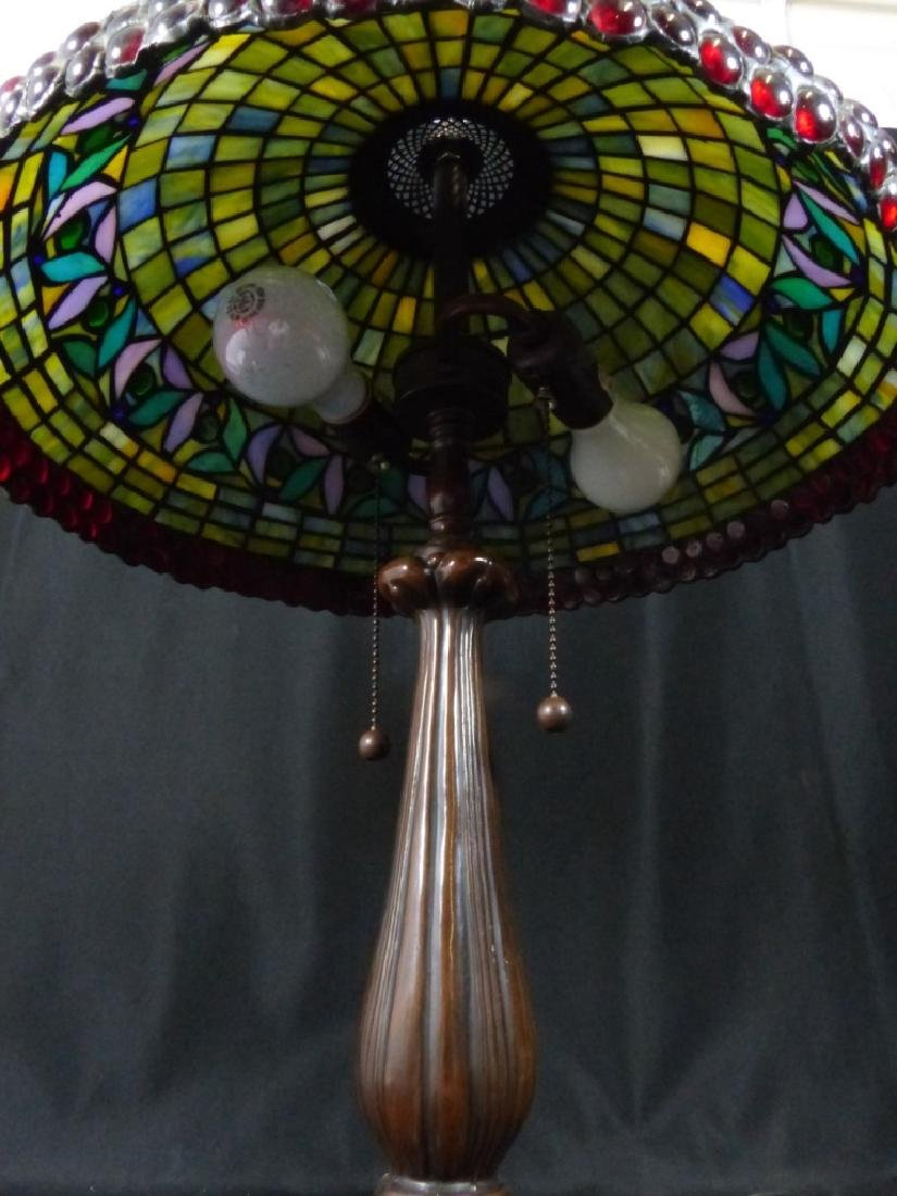 AMERICAN JEWELED STAINED LEADED GLASS TABLE LAMP - 7