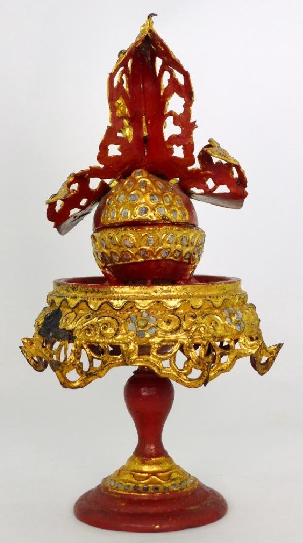 BURMESE GILT & LACQUERED TEMPLE OFFERING BOX - 5