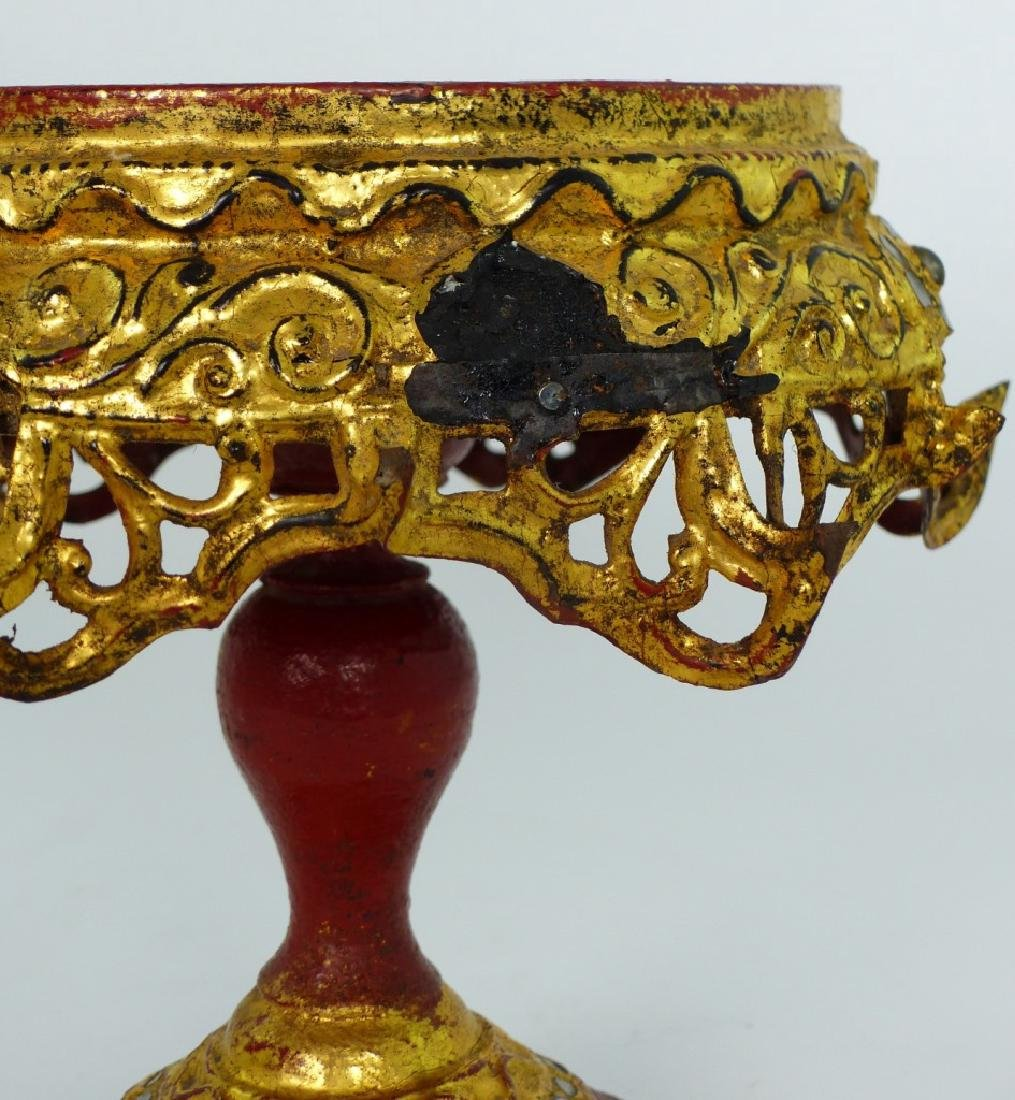 BURMESE GILT & LACQUERED TEMPLE OFFERING BOX - 7