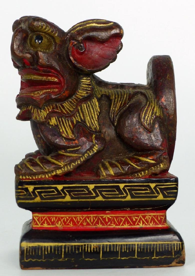 CHINESE CARVED & LACQUERED FOO DOG - 2