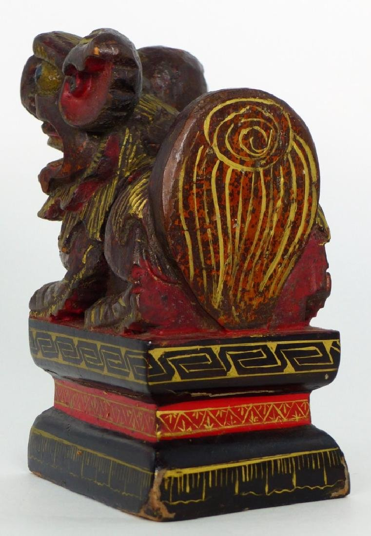 CHINESE CARVED & LACQUERED FOO DOG - 3