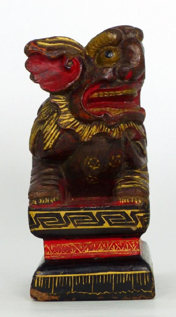 CHINESE CARVED & LACQUERED FOO DOG - 6