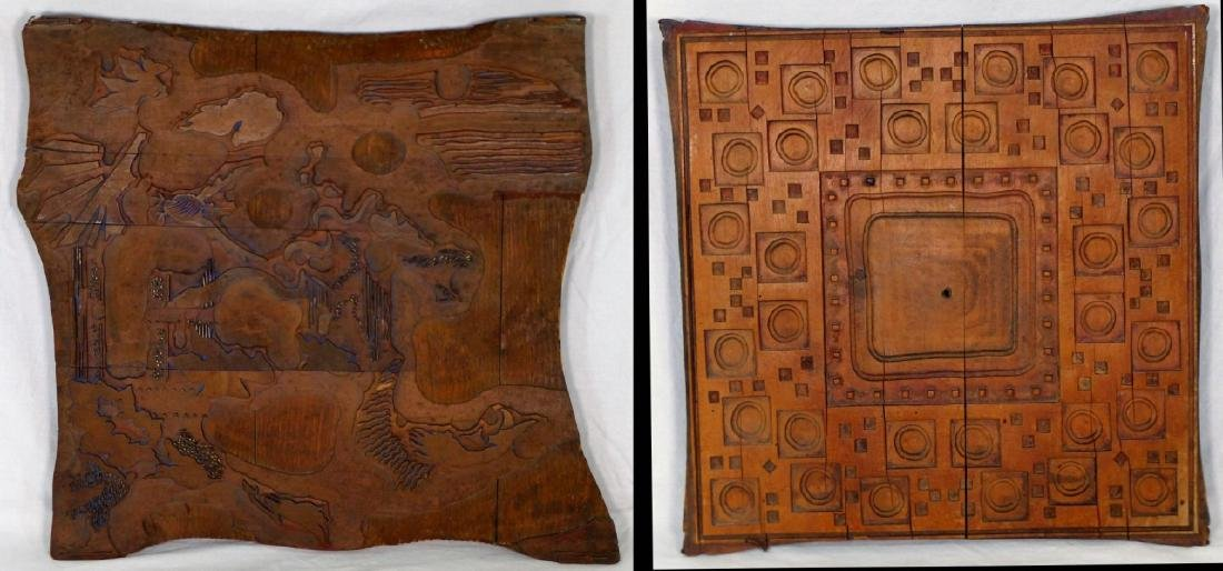 2pc ANTIQUE FRENCH CARVED WOOD FABRIC PRINT BLOCKS