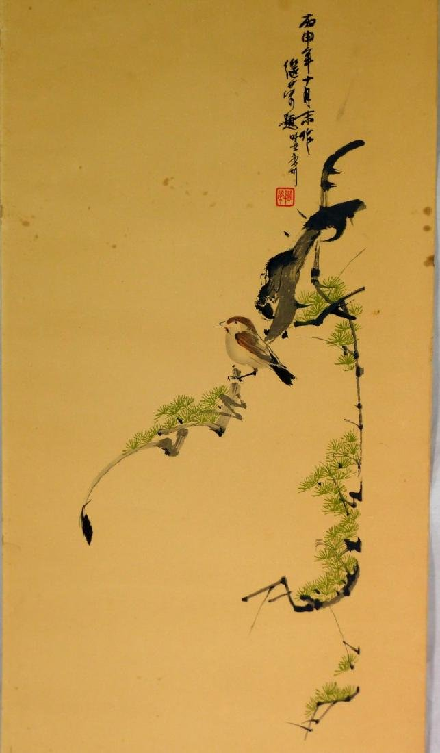 CHINESE PAINTING ON PAPER OF BIRD SIGNED - 2