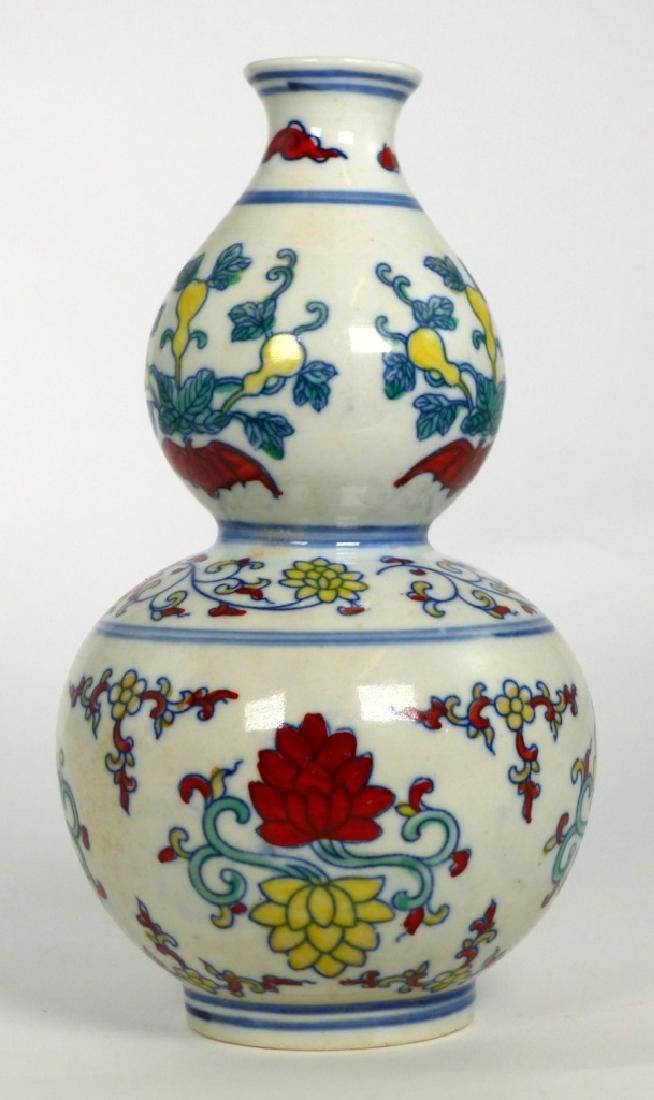 CHINESE WUCAI PORCELAIN DOUBLE GOURD VASE