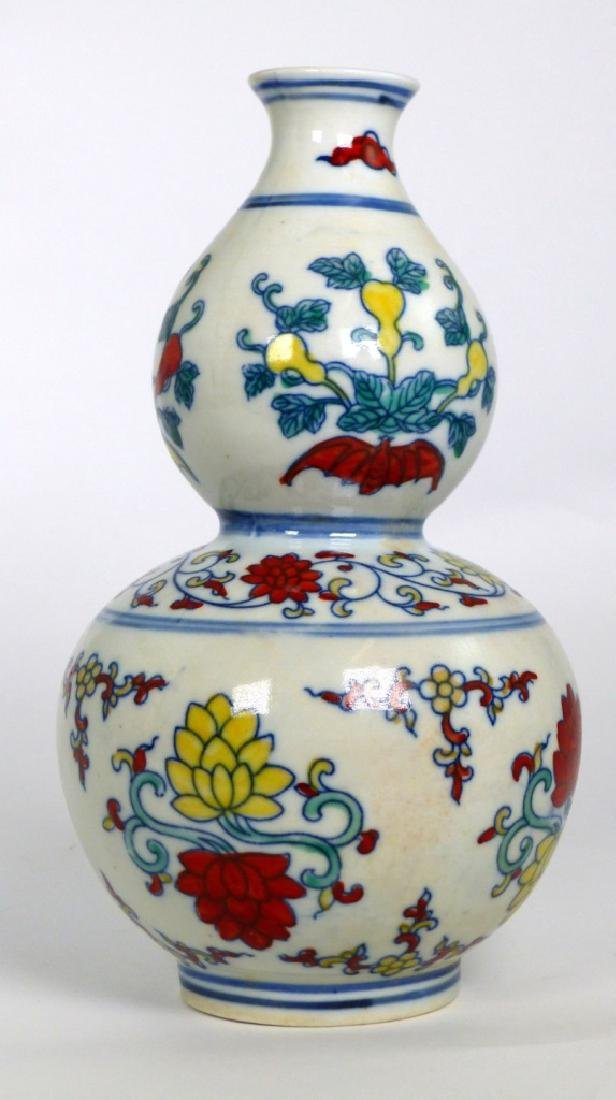 CHINESE WUCAI PORCELAIN DOUBLE GOURD VASE - 2