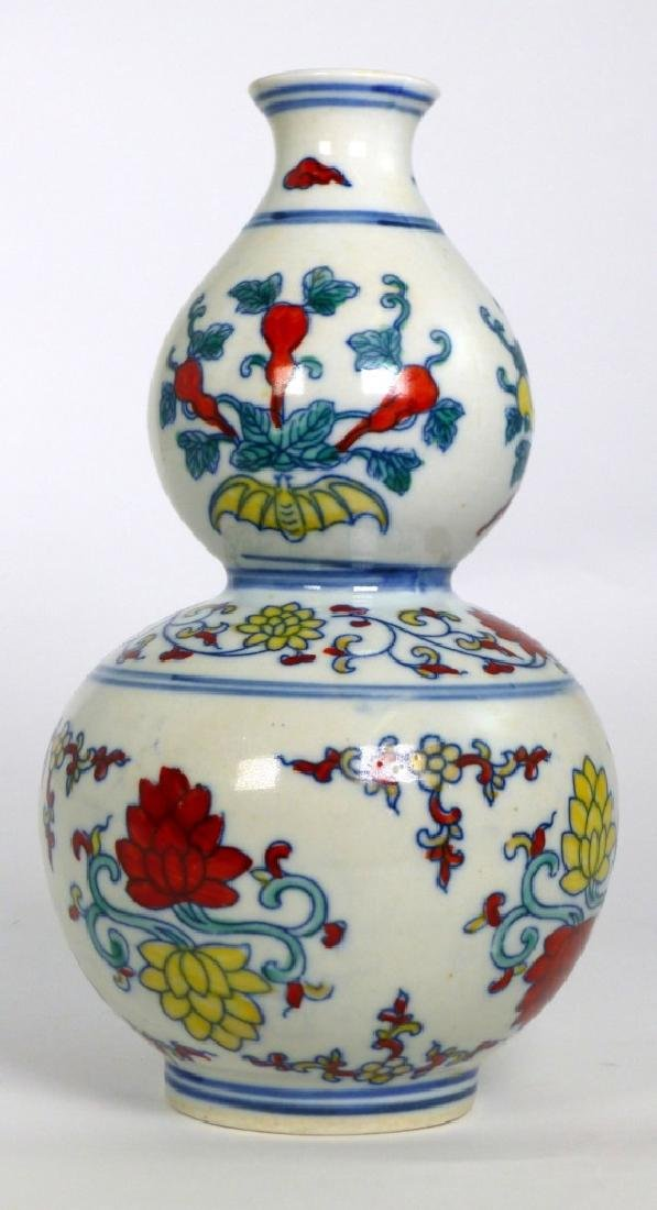 CHINESE WUCAI PORCELAIN DOUBLE GOURD VASE - 3