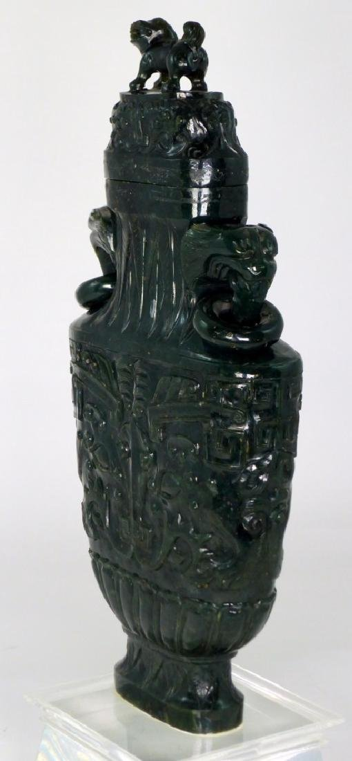 CHINESE SPINACH JADE COVERED URN - 4