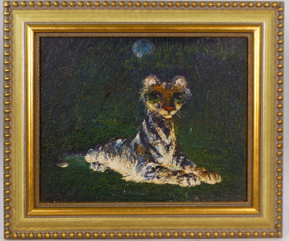DARREL AUSTIN OIL PAINTING ON BOARD TIGER CUB