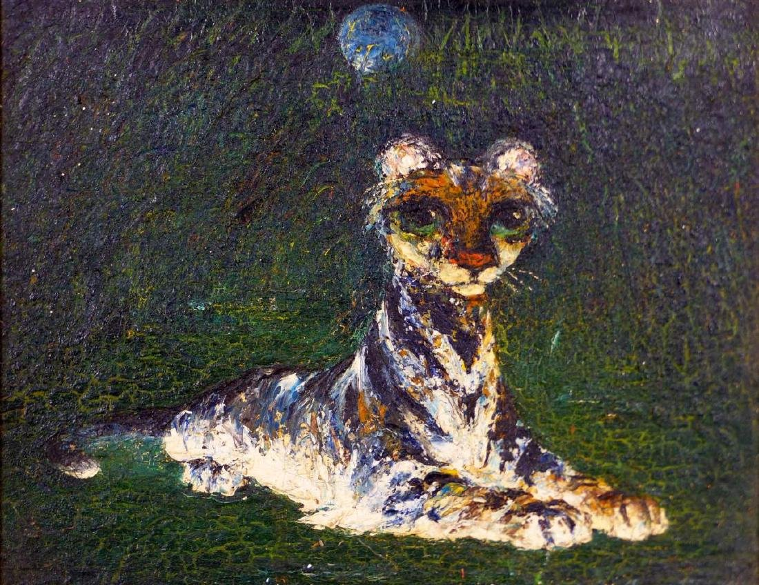 DARREL AUSTIN OIL PAINTING ON BOARD TIGER CUB - 2