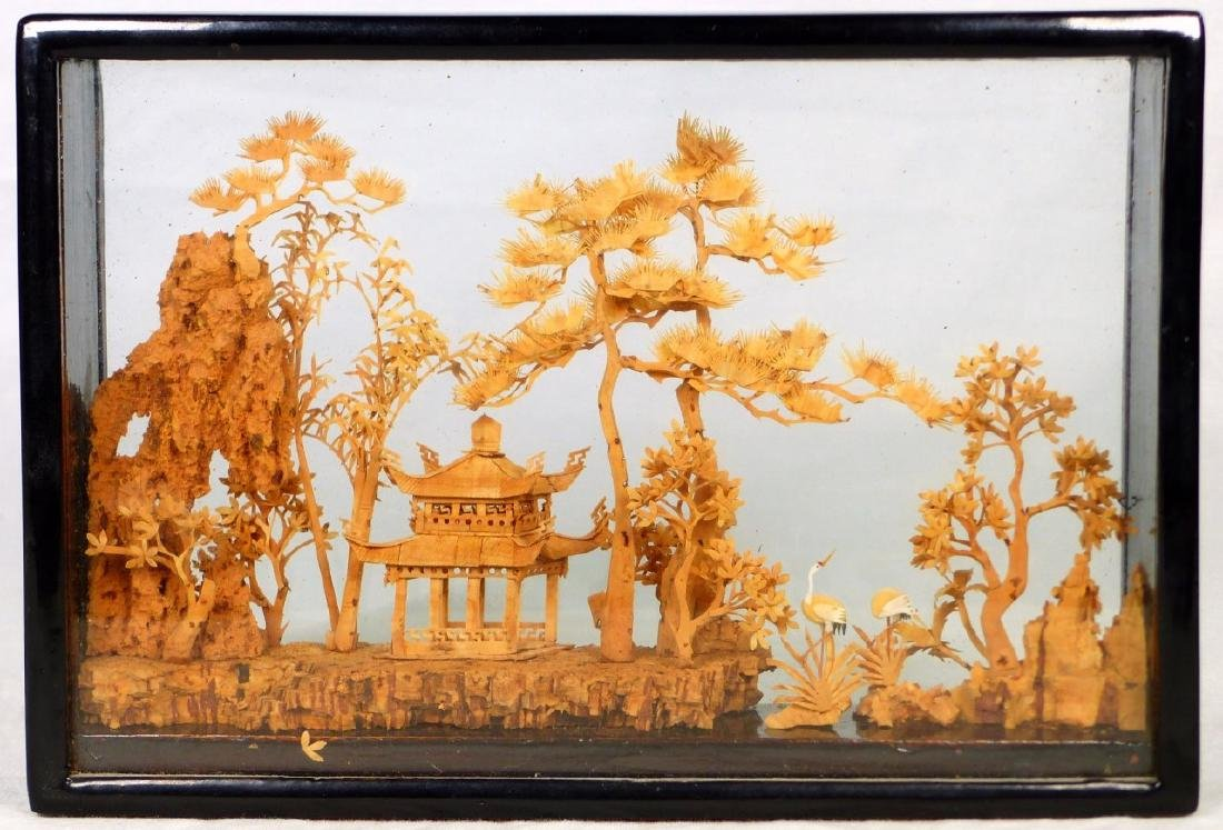 CHINESE CARVED CORK SCULPTURE