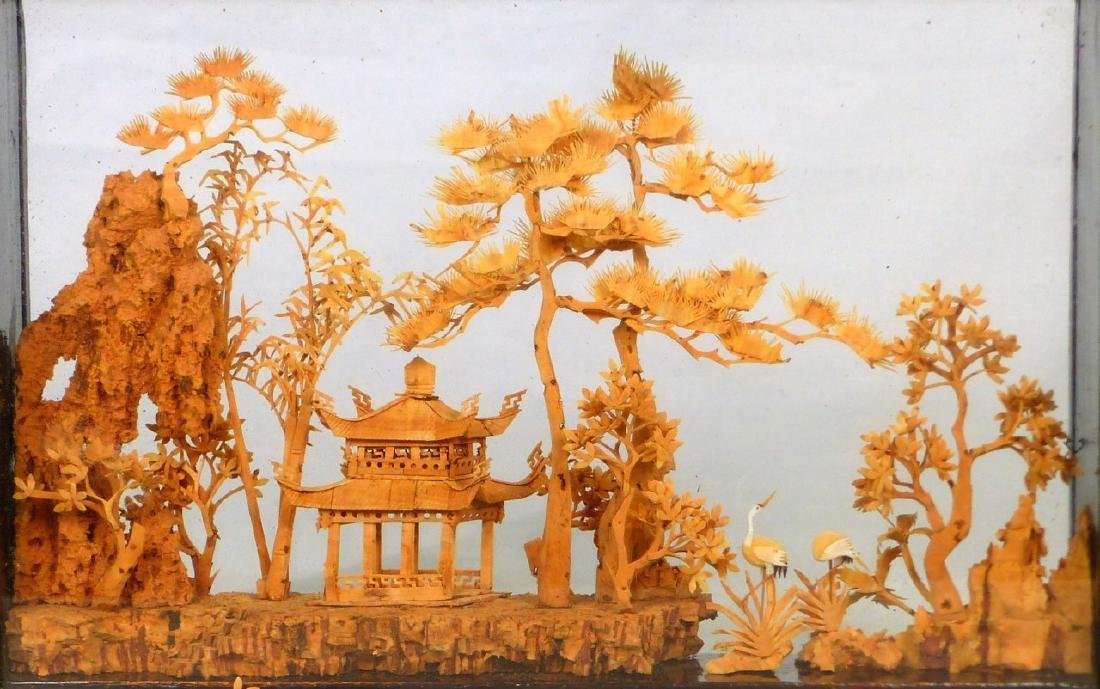 CHINESE CARVED CORK SCULPTURE - 2