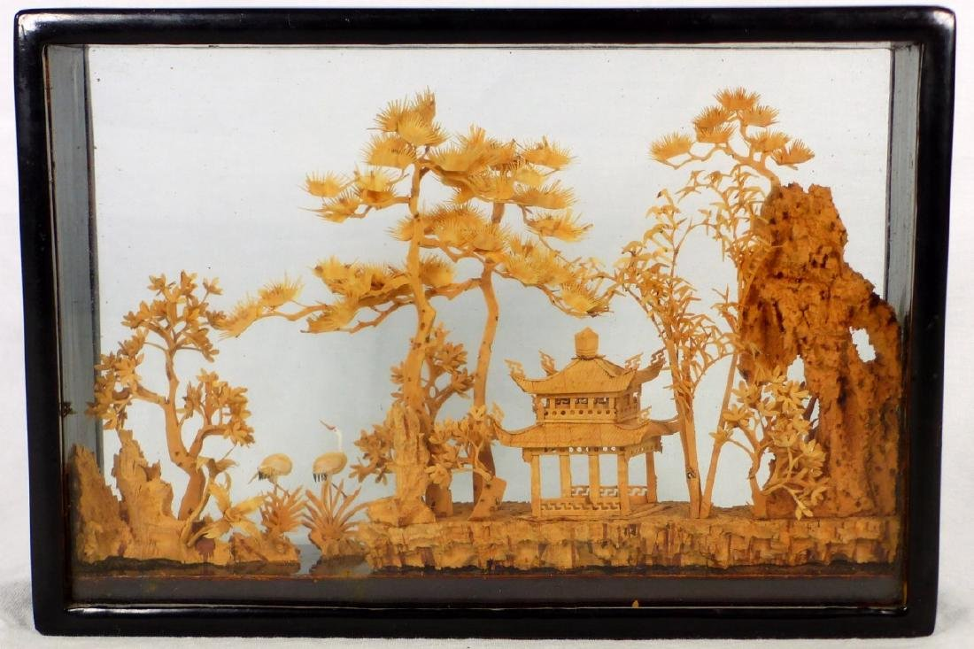 CHINESE CARVED CORK SCULPTURE - 4