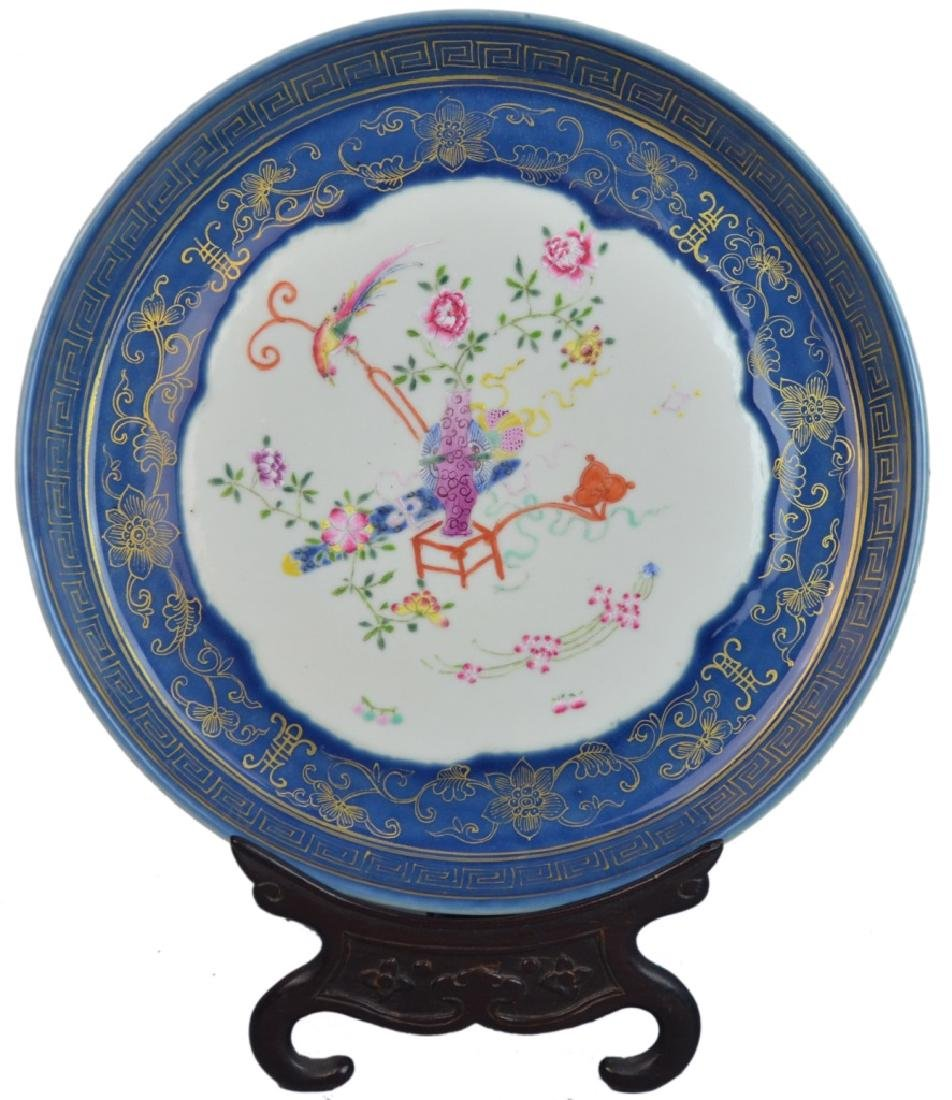 CHINESE BLUE FAMILLE ROSE PORCELAIN PLATE