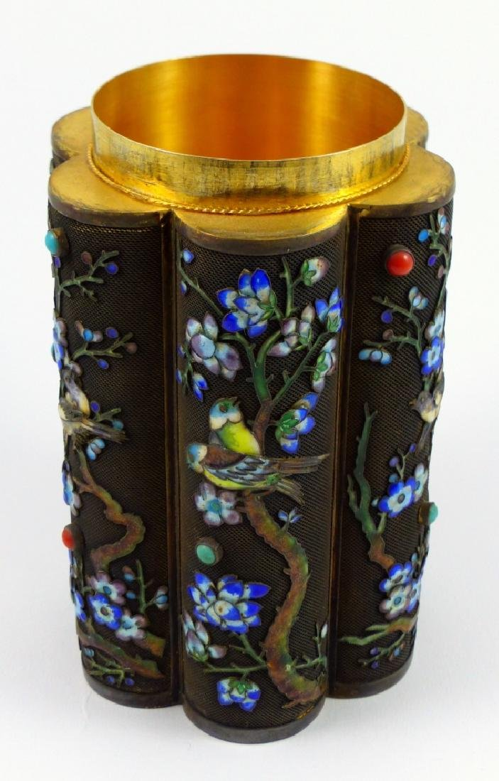 CHINESE SILVER & ENAMEL TEA CADDY - 10