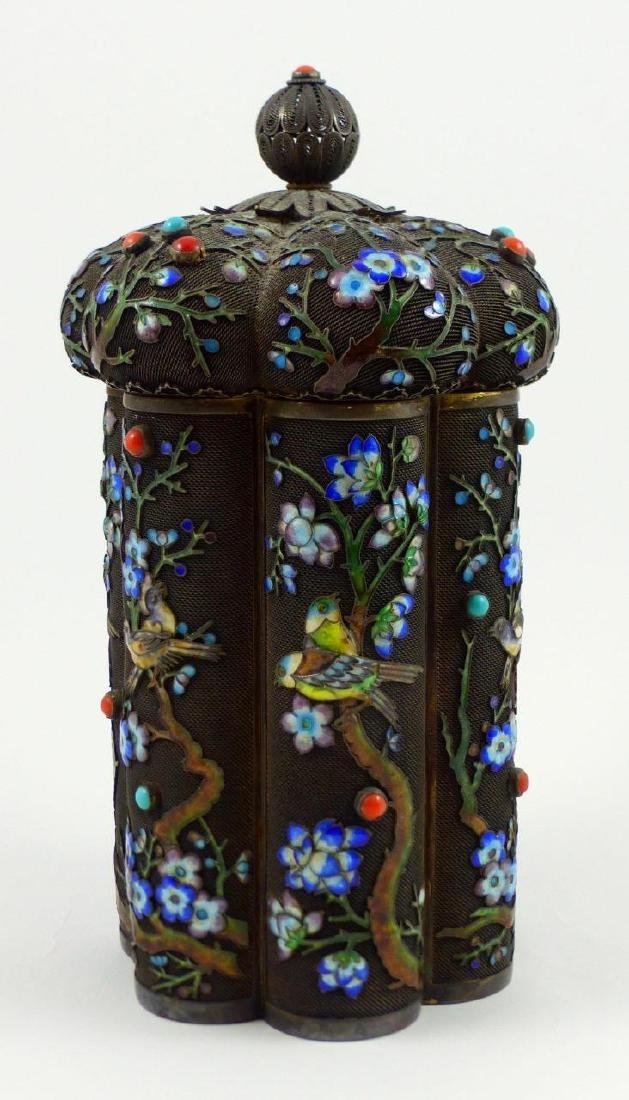 CHINESE SILVER & ENAMEL TEA CADDY