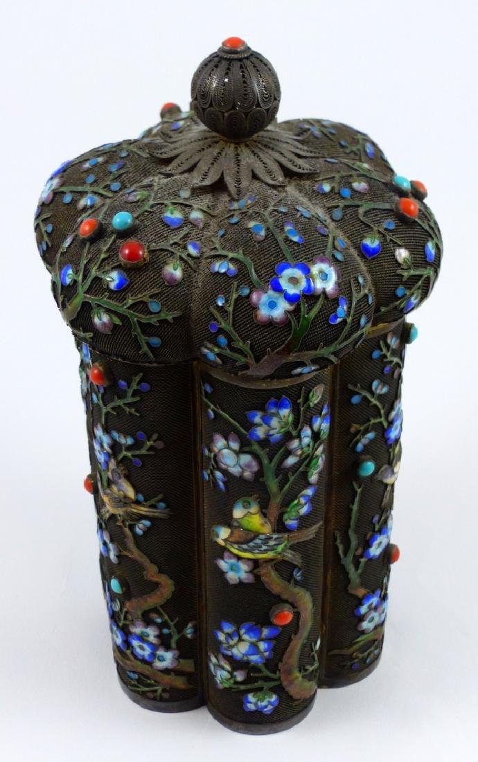 CHINESE SILVER & ENAMEL TEA CADDY - 2