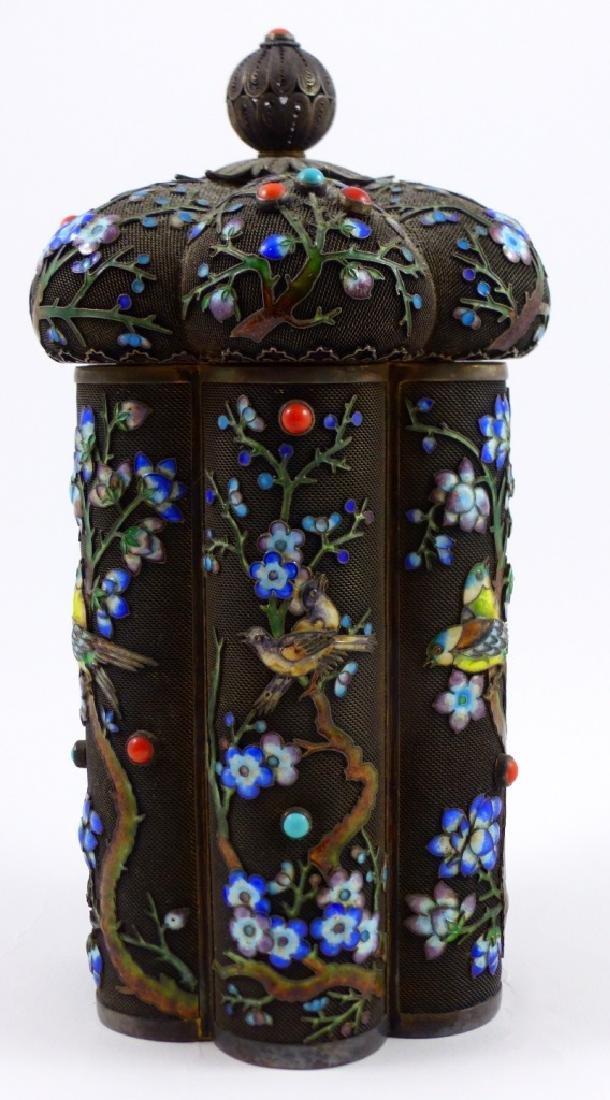 CHINESE SILVER & ENAMEL TEA CADDY - 4