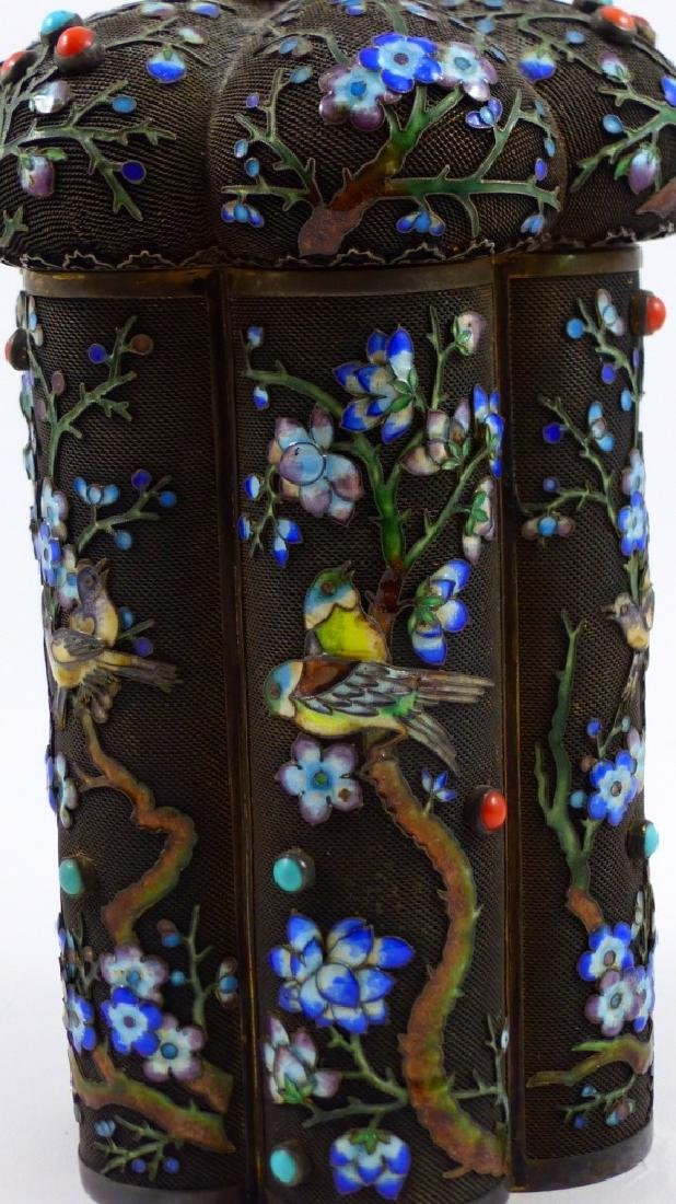 CHINESE SILVER & ENAMEL TEA CADDY - 5