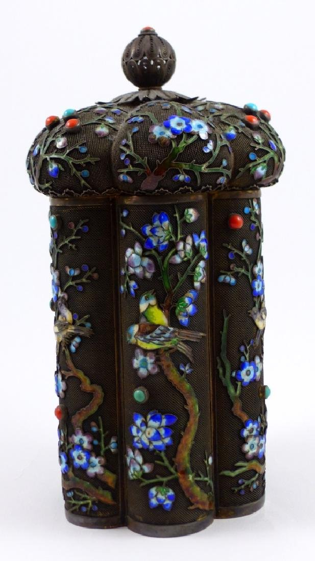 CHINESE SILVER & ENAMEL TEA CADDY - 6