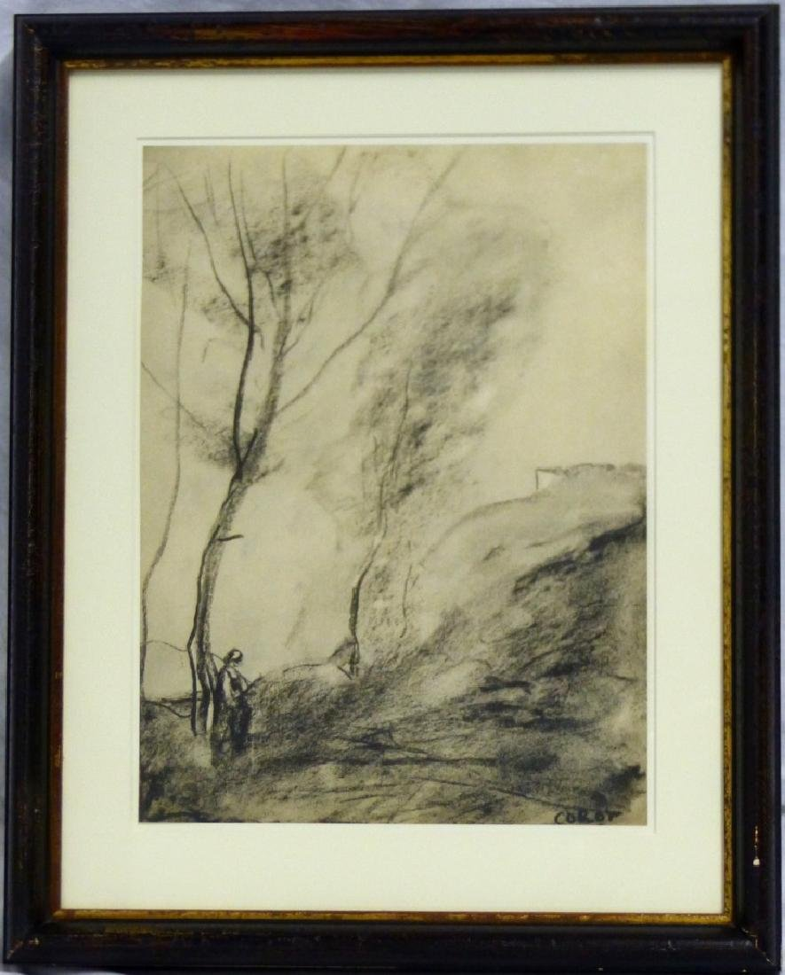 JEAN BAPTISTE CAMILLE COROT CHARCOAL DRAWING