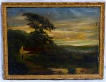 EDWIN VINER OIL PAINTING ON CANVAS OF LANDSCAPE