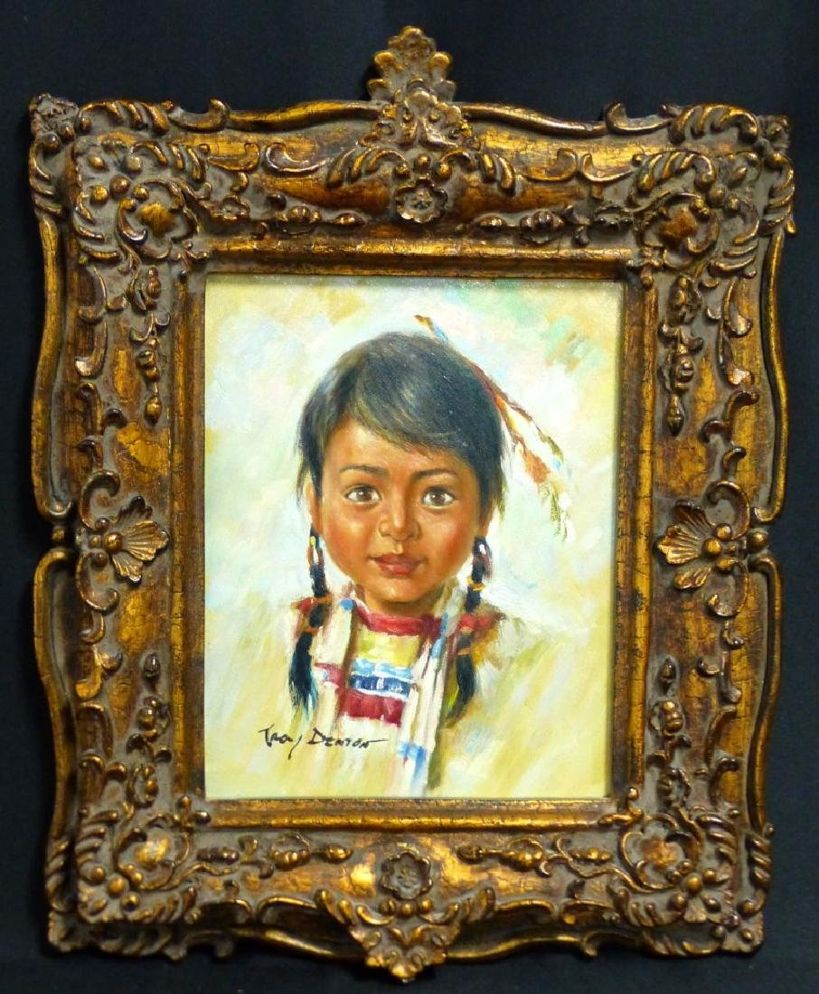 TROY DENTON OIL PAINTING ON CANVAS NATIVE AMERICAN