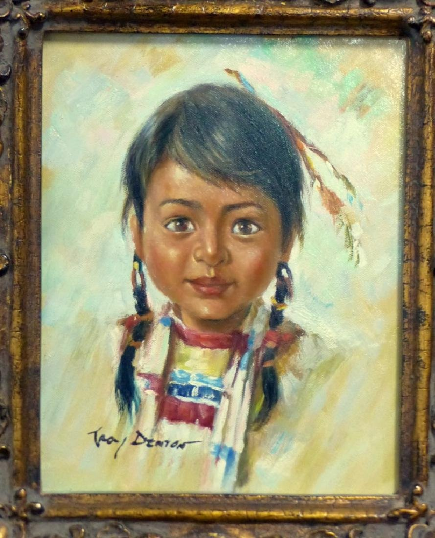 TROY DENTON OIL PAINTING ON CANVAS NATIVE AMERICAN - 2