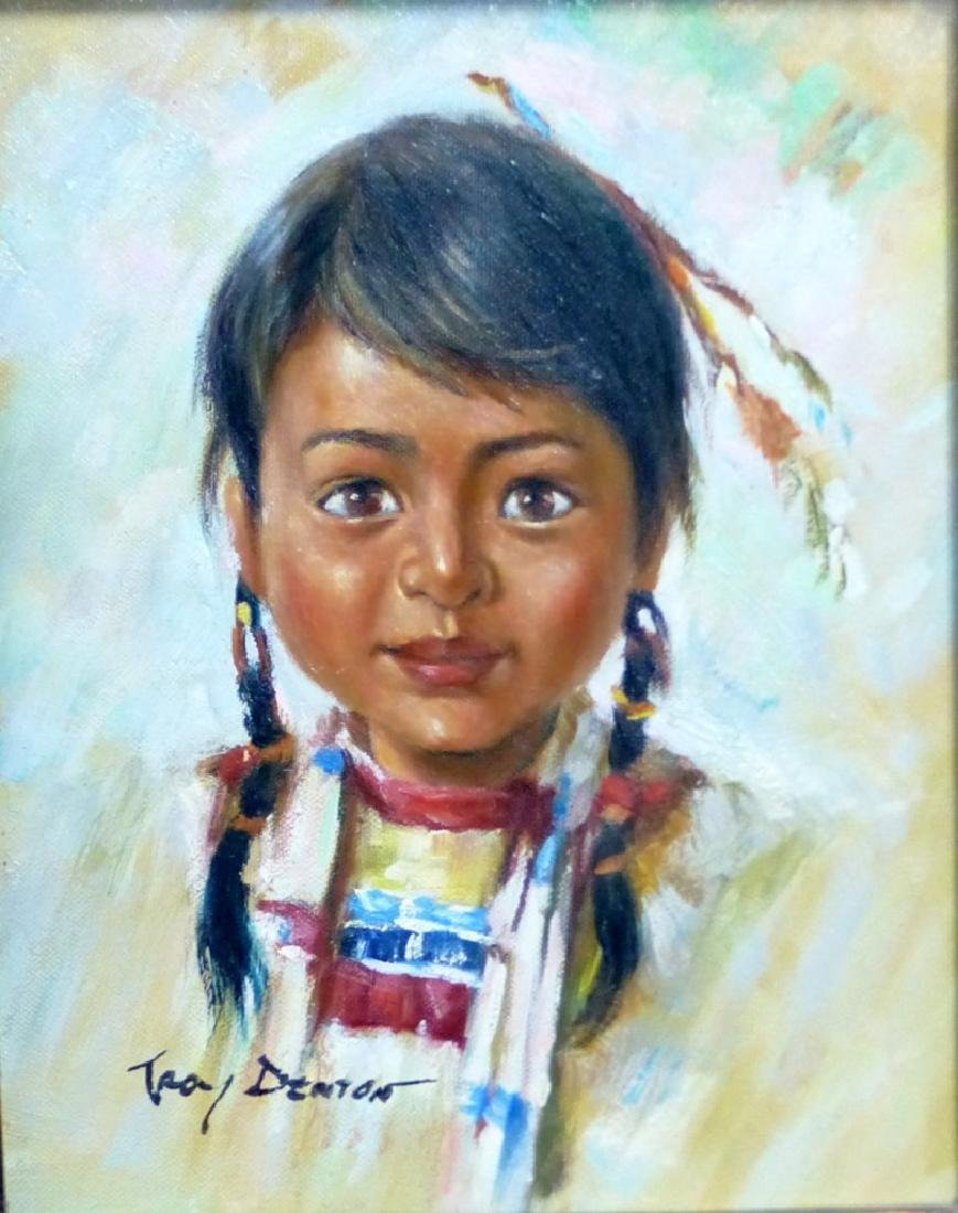 TROY DENTON OIL PAINTING ON CANVAS NATIVE AMERICAN - 3